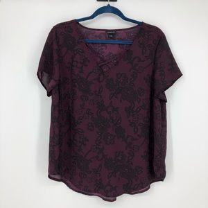 Torrid 00 Purple Floral Top